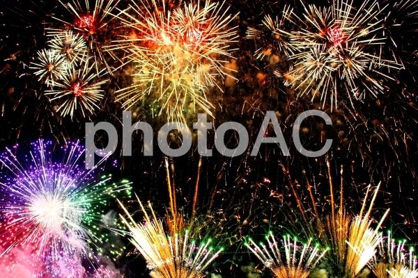 カラフル打ち上げ花火の写真