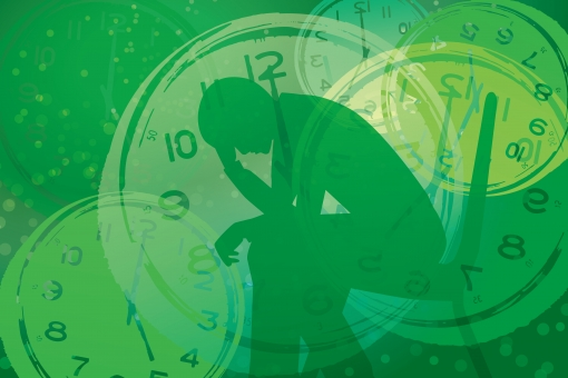 時間 締切 不眠症 締め切り 男性 パニック いらいら イライラ 焦り 精神的 重圧 心配 不安 フラストレーション 追いつめられる 時計 シルエット 制限時間 タイムリミット 混乱 悩む 悩み いそがしい 忙しい 慌ただしい 健康 癒し グリーン 緑