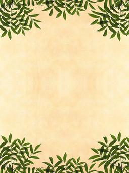 緑 枝 枝木 葉 葉っぱ リーフ 樹枝 ベージュ レトロ 植物 枝葉 背景 背景素材 バックグラウンド 自然 空間 余白 テクスチャ 質感 テキストスペース コピースペース 枠 フレーム ナチュラル グリーン 飾り枠 濃緑 シンプル 自然派 エコロジー