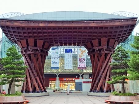 鼓門 つづみ門 建物 構造物 もてなしドーム おもてなし エントランス 北陸新幹線 金沢 金沢駅