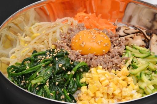 ビビンバ ビビンパ 御飯 韓国料理 イメージ ご飯 食べ物 メニュー ナムル 野菜 食事 韓国  焼肉 チラシ イメージ ピビンバ びびんば 料理 焼き肉 居酒屋 ご飯もの