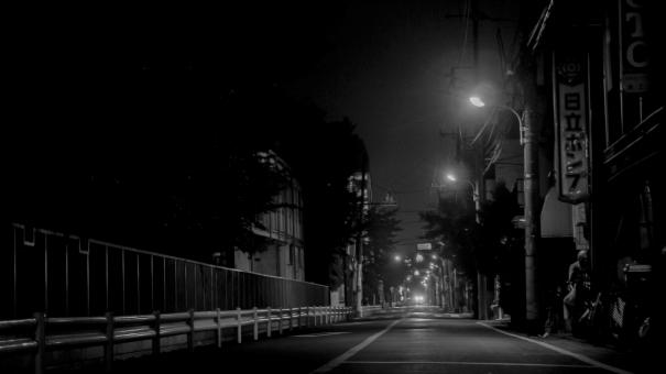 都会 ライトアップ キラキラ 電気 夜中の街 街中 歓楽街 住宅街 道路 オシャレ おしゃれ コンクリート 夏の夜 夜の街 ホラー 家 誰もいない 孤独感 暗闇 ダーク クール 奥行き コントラスト 逆光 止まれ 怪しい ガードレール 白黒 モノクロ