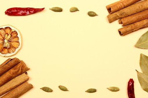 スパイス ハーブ レッドチリ 赤唐辛子 とうがらし トウガラシ ホットスパイス 鷹の爪 カルダモン グリーンカルダモン シナモン シナモンスティック オレンジ 調味料 香辛料 香料 食べ物 食材 乾燥 フレーム 余白 コピースペース テキストスペース 背景 背景素材 バックグラウンド 枠 囲み枠 赤 緑 茶 黄 並べる 複数 植物 自然 実