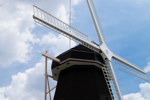 花博記念公園 鶴見緑地 風車の丘 都市公園 大阪 観光スポット コピースペース オランダ生まれの風車 青空 白い雲