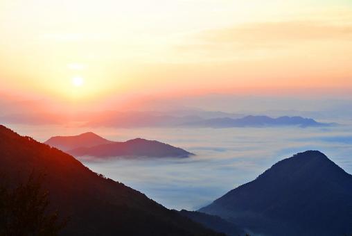 自然 空 雲 雲海 グラデーション 太陽 沈む 夕陽 夕焼け 光 もや オレンジ色 橙色 木 樹木 葉 枝 植物 山 シルエット 山脈 高い 広い 壮大 広大 雄大 幻想的 室外 屋外 風景 景色