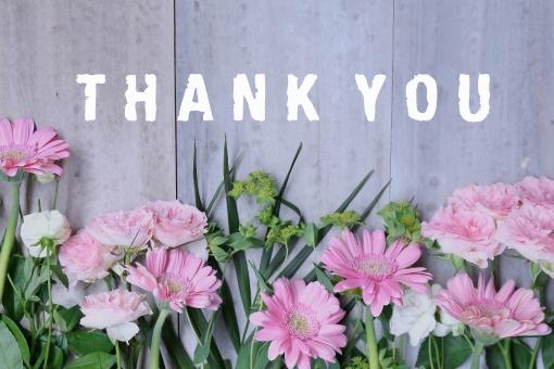ありがとう 有難う 感謝 気持ち お礼 メッセージカード グリーティングカード カード THANKS 花 ガーベラ バラ 薔薇 ばら 植物 ピンク グリーン 葉っぱ 英語 英単語 単語 英文字 アルファベット 文字