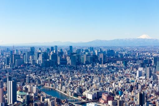 東京都市街地高所からの風景の写真