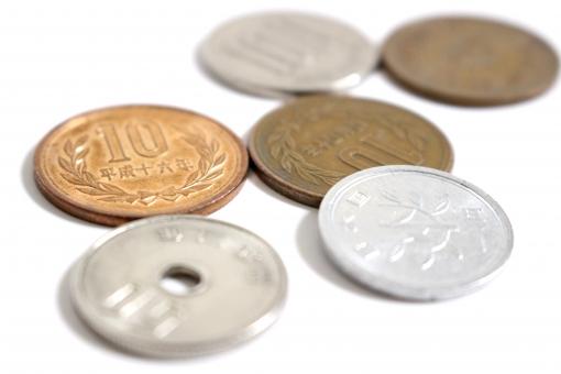 硬貨 小銭 コイン 6枚のコイン 6枚のお金 硬貨を円形型に置く 1円 10円 100円 50円 おつり 小さいお金と大きいお金 小銭全種類 日本円 日本のお金 日本の小銭 金