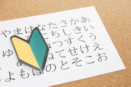 ひらがな 日本語 勉強中 初心者マーク ビギナー 初級 はじめて 初めて 若葉マーク 学習 習得 習う 覚える 平仮名 ヒラガナ 外国人 海外 言葉 仕事 学校 50音 50音 五十音 会話 読み書き 素材 言語 理解 わからない レッスン