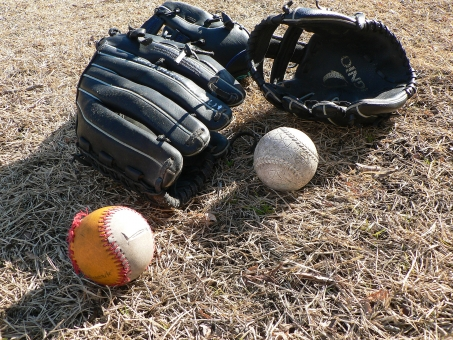 親子 父子 息子 野球 グローブ ボール 家族 兄弟 スポーツ 練習 少年 友達 仲間 学童 自動 ふれあい 公園