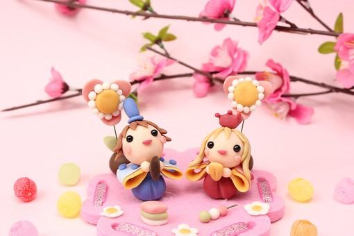 クレイ クレイアート クレイドール ねんど 粘土 クラフト 人形 アート 立体イラスト 粘土作品 かわいい 雛人形 ひな人形 ひな祭り 祭り お雛様 おひなさま お内裏様 祝い   置物  花     桃色     年中行事 イベント 3月 桃の節句 和     春 かわいい 伝統 明るい ピンク ひなまつり