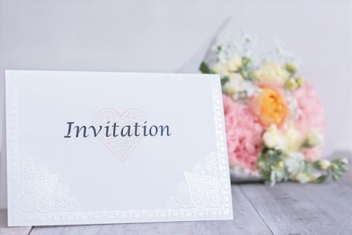 招待 結婚式 ウエディング 招待状 ウェルカム ブーケ ハート ハート型 白 ホワイト