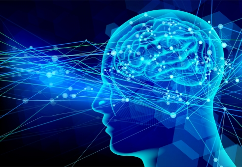 脳神経の伝達イメージ-青い光の背景の写真