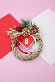 年賀 年賀状 正月 お正月 年賀素材 年賀状用素材 正月素材 和小物 和風 和 素材 伝統 飾り 正月飾り 新年 紅白 赤 白 ピンク 注連縄 しめ縄