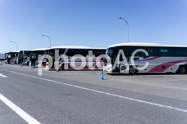 サービスエリアの駐車場に停まっている観光バスの写真