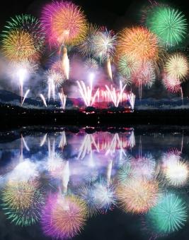 山奥の湖畔の打ち上げ花火イメージ-縦長の写真