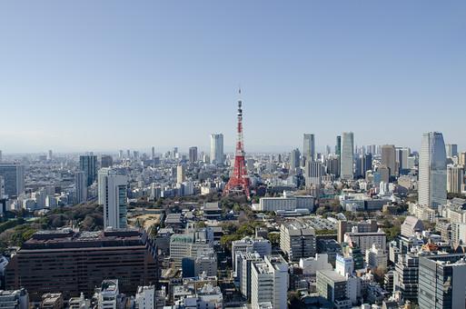 日本 国内 東京都 屋外 外 風景 景観 都市 都会 町並み 街並み 建物 建造物 ビル ビル街 眺望 眺め 空 青空 快晴 晴れ 晴天 広い ワイド 東京タワー