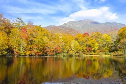 刈込池の紅葉と三ノ峰2の写真