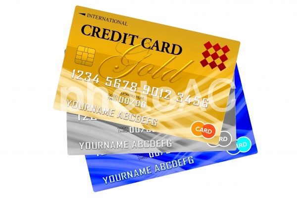 クレジットカード3枚 白背景の写真