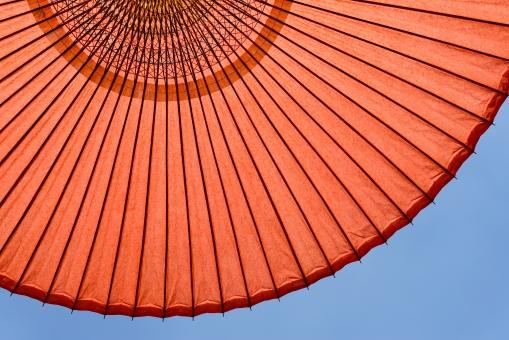 和傘 傘 日傘 日除け 日よけ 赤 赤色 野だて傘 オレンジ色 野外 空 青空 晴れ 樹木 木 緑 野点傘 野点 茶会 お茶会 お茶 茶 お茶席 茶席 和 和風 文化 工芸 工芸品 模様 パターン 竹 竹材 紙 和紙 庭 庭園 日本 アップ クローズアップ 背景 質感 テクスチャ テクスチャー バックグラウンド 屋外 無人