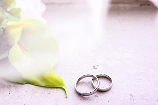 白 結婚式 花  ブライダル  結婚  きれい 美しい 上品 かわいい 可憐 記念 記念日 緑  大切 ペア プレゼント ギフト 思い出 カラー カイウ 指輪 リング 結婚指輪 光 重なる