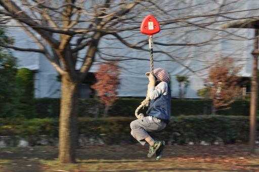 ターザンロープで遊ぶ子供の写真