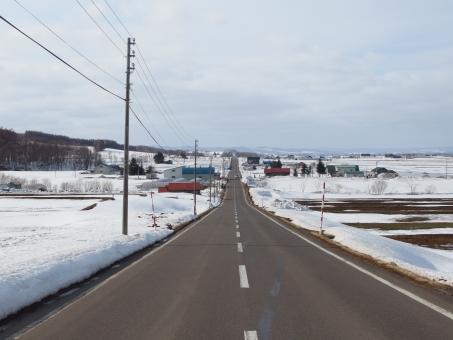 風景 北海道 北海道の風景 冬の北海道 春の北海道 道路 北海道の道路 冬 早春 春 早春の北海道