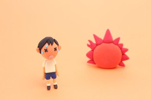 クレイアート ねんど 粘土 立体イラスト クラフト       スタジオ撮影 オレンジ色 体調不良 健康  病気   熱中症 日射病 猛暑 真夏 夏 昼間    炎天下 暑い 外出 屋外 疲労    疲れる 太陽 こども 子供 子ども  汗