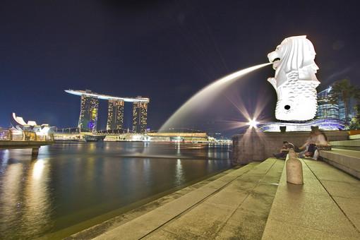 マリーナベイ・サンズ マリーナ・ベイ ホテル マーライオン シンガポール アジア 外国 外国風景 海外 海外風景 景色 風景 街並 町並み 建物 建造物 夜景 夜 イルミネーション ネオン ライト ビル 高層ビル 観光 旅行 観光名所 湾 海