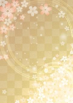 桜_金箔_格子_縦型の写真