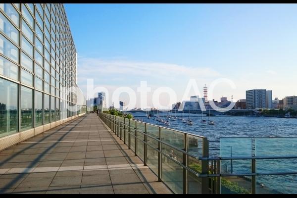日本 新潟 朱鷺メッセ横通路からの眺めの写真