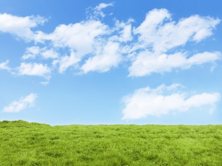 草原と空と雲の写真