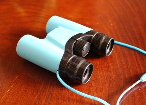 双眼鏡 コンパクト 小型 ブルー ズーム