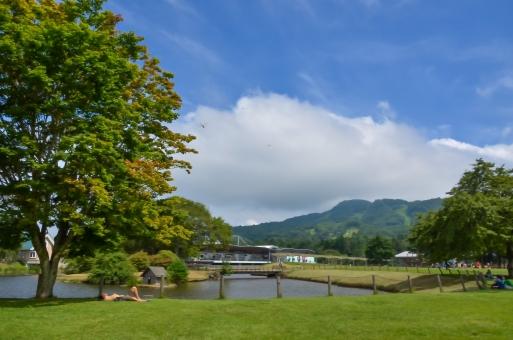 真夏 夏 アウトレット 軽井沢 芝生 トンボ 休息 夏休み 避暑地 休憩 晴天 木 自然 池