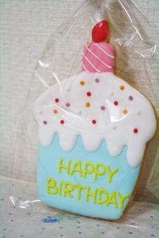 お誕生日おめでとう 誕生祝い おめでとう お誕生日 ハッピーバースデー birthday ハッピー お祝い バースデーケーキ ろうそく キャンドル メッセージ 言葉 文字入り 言葉入り アイシングクッキー かわいい 可愛い カワイイ キュート 女子 女の子 水色 ブルー hb 誕生日