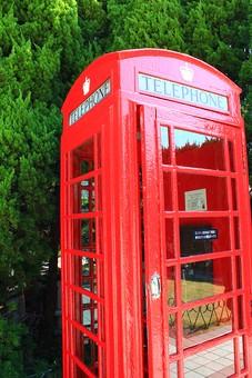 電話 電話BOX 電話ボックス 古風 レトロ 昔 昔風 洋風 英語 赤い かわいい 目立つ 待ち合わせ ガラス 通話 コミュニケーション 自然 植物 緑 木 立つ 電話代 撤去 建造物 美術