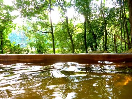 露天風呂 温泉 スパ バス 湯 林 山 樹木 水面 ホットスパ 観光 療養 保養