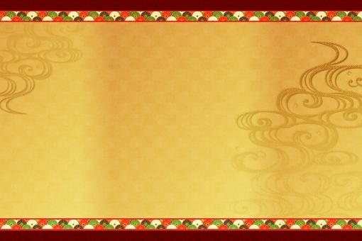 和柄 キク 菊 日本 背景 バック 和式 民謡 古い 歴史 時代劇 フレーム バック 飾り枠 波 色彩 和 布 テクスチャ 年賀状 金 ゴールド レトロ 古来 巻物 紙 節分 季節 正月 行事