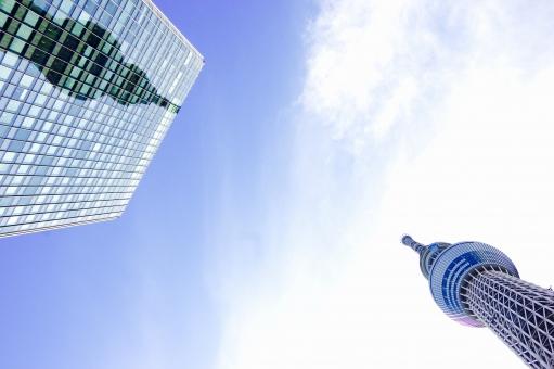 東京スカイツリー tokyo sky tree TOKYO SKY TREE 反射 映り込み 映り込み tower Tower タワー ツイン Twin 鏡 かがみ 映る 映っている 青空 あおぞら 青 あお 空 そら blue BLUE Blue ビル 双子