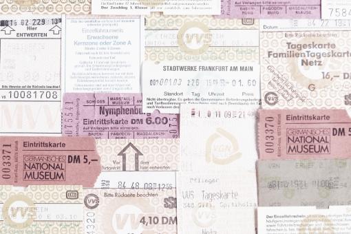 チケット 回数券 乗車券 入場料 運賃 バス 電車 乗り物 壁紙 テクスチャ 背景 美術館 ドイツ ヨーロッパ