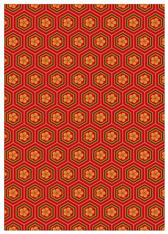 テクスチャ テクスチャー バックグラウンド 背景素材 生地 アップ 模様 正面 布 ポスター グラフィック ポストカード 柄 デザイン 紙 素材 和柄 和 絵 和紙 日本 優美 繊細 全面 和風 亀甲繋ぎ 亀甲形 亀甲紋 六角形 梅 赤 オレンジ