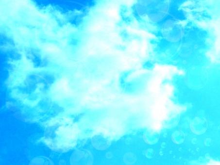 空 雲 太陽 大空 青空 ブルー 快晴 日ざし 日差し シャボン玉 しゃぼん玉 背景 風景 景色 テクスチャ テクスチャー sky バック バックイメージ 合成 反射 光 さわやか 爽やか キラキア 水玉