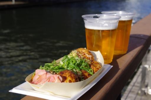 たこ焼き タコ焼き たこやき ビール デート 大阪 道頓堀 川 まったり 美味しい 美味しそう