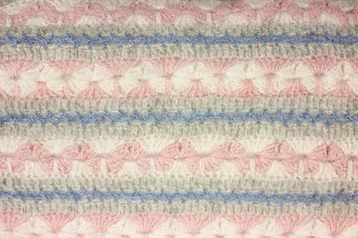 ニット 編地 毛糸 糸 混紡 編み物 ニット地 編み地 編む テキスタイル 背景 背景素材 テクスチャ ファッション 素材 手芸 繊維 衣類 編み目 生地 衣類 カットソー 衣服 アパレル 模様 ファブリック 雑貨 手編み 裁縫 模様編み 柄編み 模様 柄 ピンク 青 白 花
