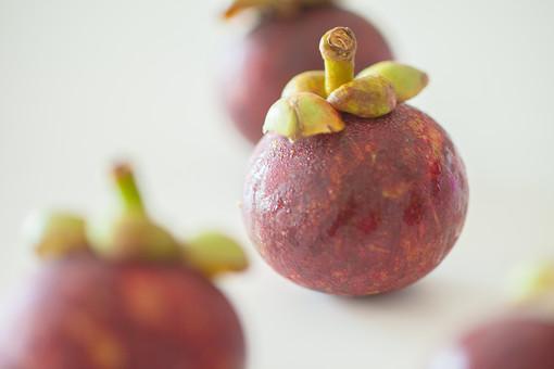 自然 植物 果物 フルーツ 果実 実 丸い 球体 葉 ヘタ 赤 緑 食べ物 食材 生 マンゴスチン 東南アジア 熱帯 外国 熱帯果実 熱帯果樹 果物の女王 甘い 美味しい 並べる 置く アップ 無人 加工 白背景