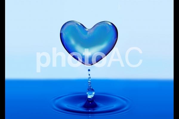 ハートの雫・青色の写真
