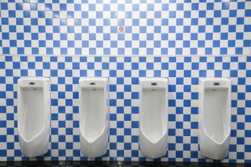 トイレ 男性用 便所 お手洗い WC モザイク 青 男 小便 水洗 公共 公衆 厠 男子 便器 正面 タイル 白 屋内 施設 チェック柄