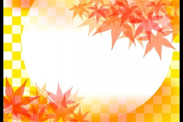 秋の紅葉したもみじとオレンジ色と白の市松模様背景素材の写真