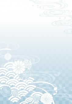 そげ soge 青海波文様 青海波 せいがいは 模様 紋様 文様 和柄 和模様 和紋様 和文様 地紋 和紋 波模様 着物 海 河 川 川面 水 水面 波 線 流水 流水紋 菊 菊模様 菊紋様 菊文様 菊紋 菊柄 花 花模様 花文様 花紋 花紋様 組紐 くみひも 組み紐 組みひも 市松 市松模様 チェック チェッカー 綺麗 きれい キレイ 美しい 風流 雅 飾り 高級 華やか 上品 wave water chrysanthemum pattern beautiful japanese check 和素材 素材 パーツ ごあいさつ ご挨拶 あいさつ 挨拶 グラデーション gradation 縦書き 縦 たてがき たて 長方形 縦向き 縦むき たてむき 青 水色 さわやか 爽やか blue skyblue フレーム 背景 枠 飾り枠 和風 和