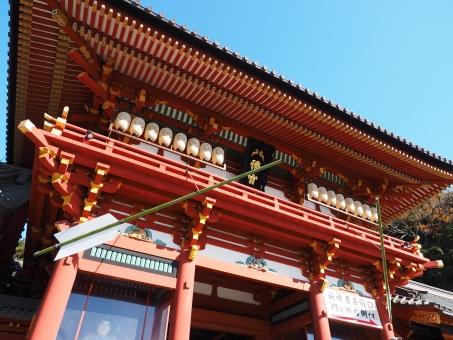 鶴岡八幡宮 鎌倉 神社 正月 赤 モスク 空 宮